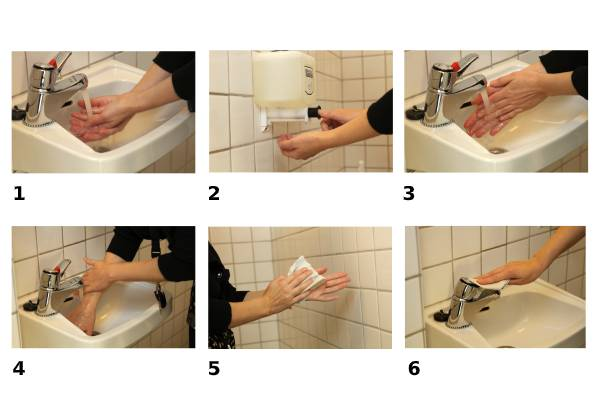 Instructions to wash hands