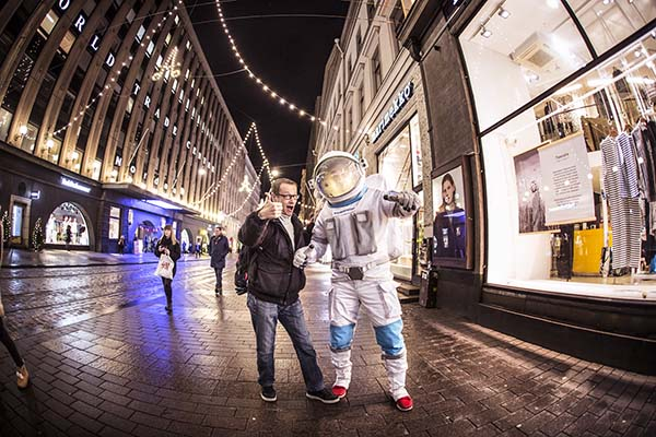 Slush is a startup and tech event, organized annually in Helsinki, Finland. This astronaut was a mascot of the event in 2017.