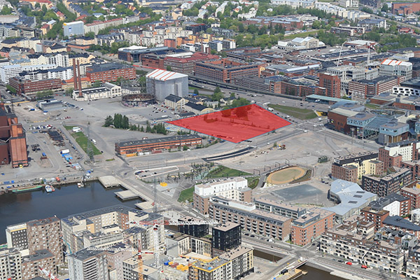 The development of the Northeastern Corner of Suvilahti continues. The development area is marked in red.