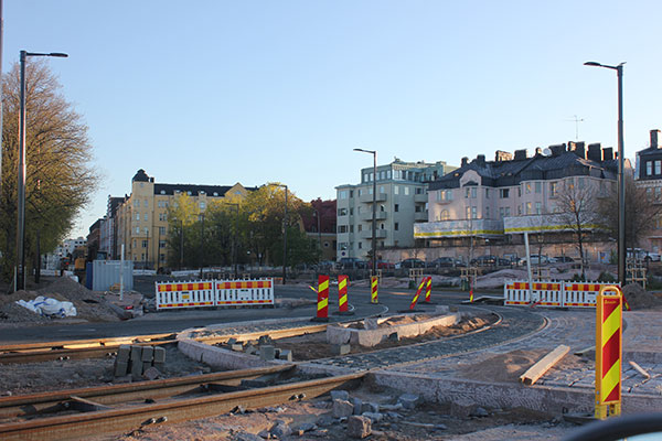 New tram tracks are being built in Eiranranta.