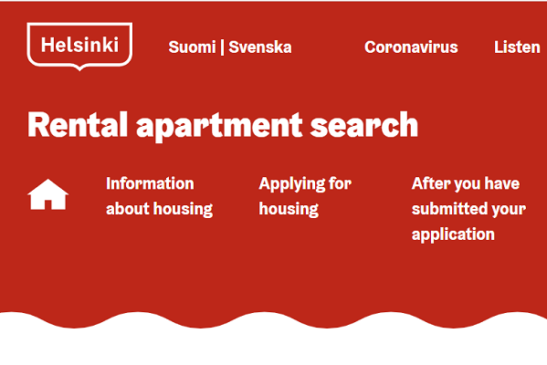 Screen capture of Rental apartment search.